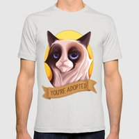 Grumpy Cat Mens Fitted Tee Silver SMALL