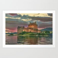 Eilean Donan Sunset Watercolour Effect Art Print