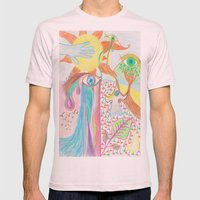 My world Mens Fitted Tee Light Pink SMALL
