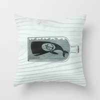 Whale In A Bottle | Anch… Throw Pillow