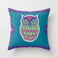 Indie Owl Throw Pillow