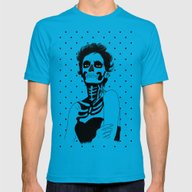 Lady Skull Dots Mens Fitted Tee Teal SMALL
