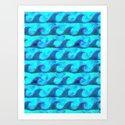 WAVE ACTION - blue Art Print