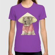Shar Pei On The Great Wa… Womens Fitted Tee Ultraviolet SMALL