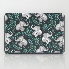 Laughing Baby Elephants – emerald and turquoise iPad Case