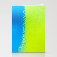 Blue Green Paint Stationery Cards