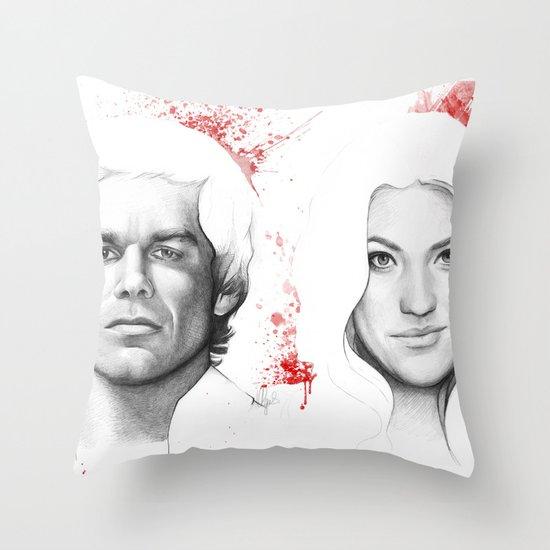 Dexter and Debra Throw Pillow