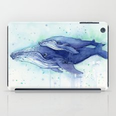 Humpback Whale Watercolor Mom and Baby Painting iPad Case