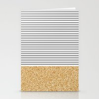 stripes Stationery Cards featuring Minimal Gold Glitter Stripes by Allyson Johnson