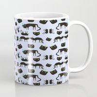 Crazy Cats with colorful hats, pattern Mug