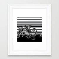 Paisley Stripe: Black Framed Art Print