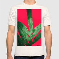 Green Fern On Bright Red Mens Fitted Tee Natural SMALL