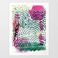 Ghosting green to pink Art Print