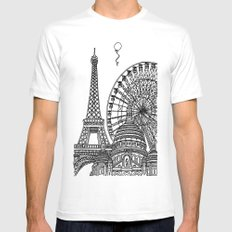 Paris Silhouettes White Mens Fitted Tee SMALL