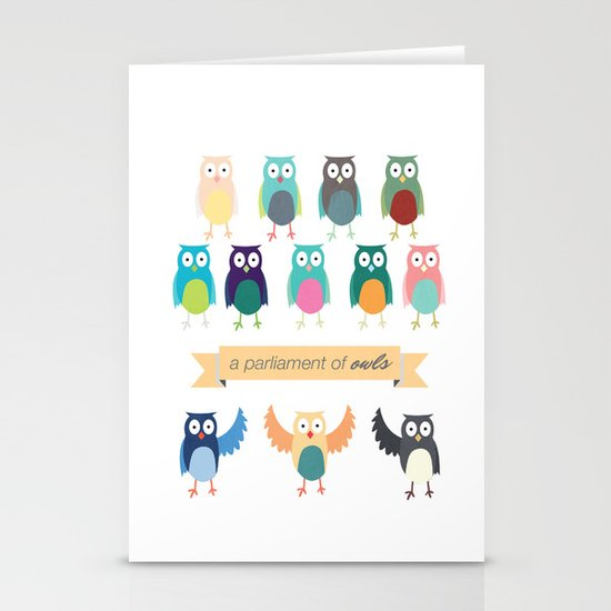 A Parliament of Owls Stationery Card