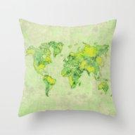 World Map Green Vintage Throw Pillow