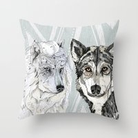 Wolf Family Portrait Throw Pillow