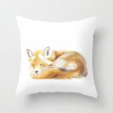 Woodland Sleepy Fox Throw Pillow