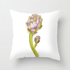 Artichoke Botanical Watercolor Throw Pillow