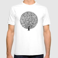 Black and White Tree SMALL White Mens Fitted Tee