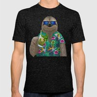 Sloth on summer holidays drinking a mojito Mens Fitted Tee Tri-Black SMALL