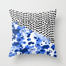 Monroe - India ink, indigo, dots, spots, print pattern, surface design Throw Pillow
