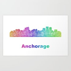 Rainbow Anchorage skyline Art Print