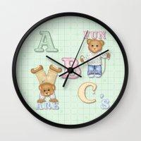 Teddy Bear Alphabet ABC's Green Wall Clock