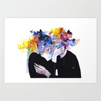 lips Art Prints featuring intimacy on display by agnes-cecile