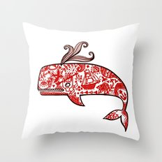 The tattooed whale in my dream Throw Pillow