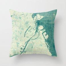 Copenhagen Map Blue Vintage Throw Pillow