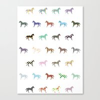Colorful Horses Lantern Pattern  Canvas Print