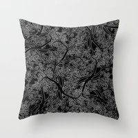 Tree Repeat Black Throw Pillow