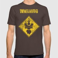 Dragon's Lair Warning Si… Mens Fitted Tee Brown SMALL
