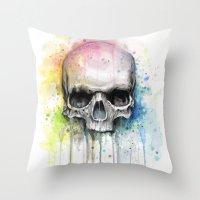 Skull Watercolor Paintin… Throw Pillow