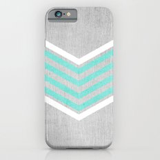 Teal and White Chevron on Silver Grey Wood iPhone 6 Slim Case