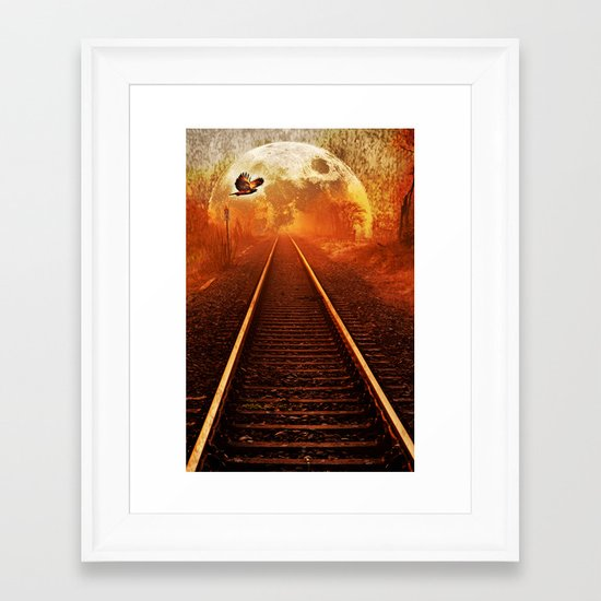 Railway to the moon Framed Art Print