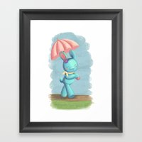Walking On A Rainy Day Framed Art Print