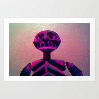 RED SKELETON Art Print