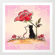 Rose tree couple cats Art Print
