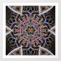 Abstract textured mandala Art Print