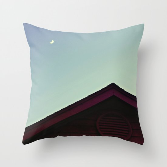 The Moon and The Red House Throw Pillow