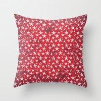 White stars on red grunge textured background  Throw Pillow