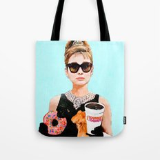 Breakfast at Dunkin Donuts - Audrey Hepburn Tote Bag