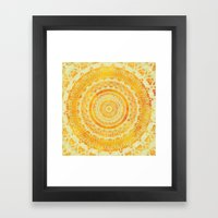 Golden Sun Mandala Framed Art Print