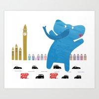An Enormous Elephant Enj… Art Print