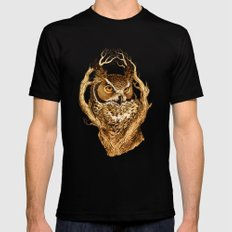 Great Horned Owl SMALL Black Mens Fitted Tee