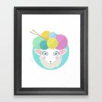 Sheepy Yarn Head Framed Art Print