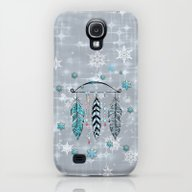 Winter Feathers And Bow Galaxy S4 Slim Case