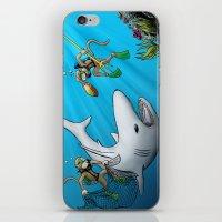 Monkeys Fighting Shark iPhone & iPod Skin